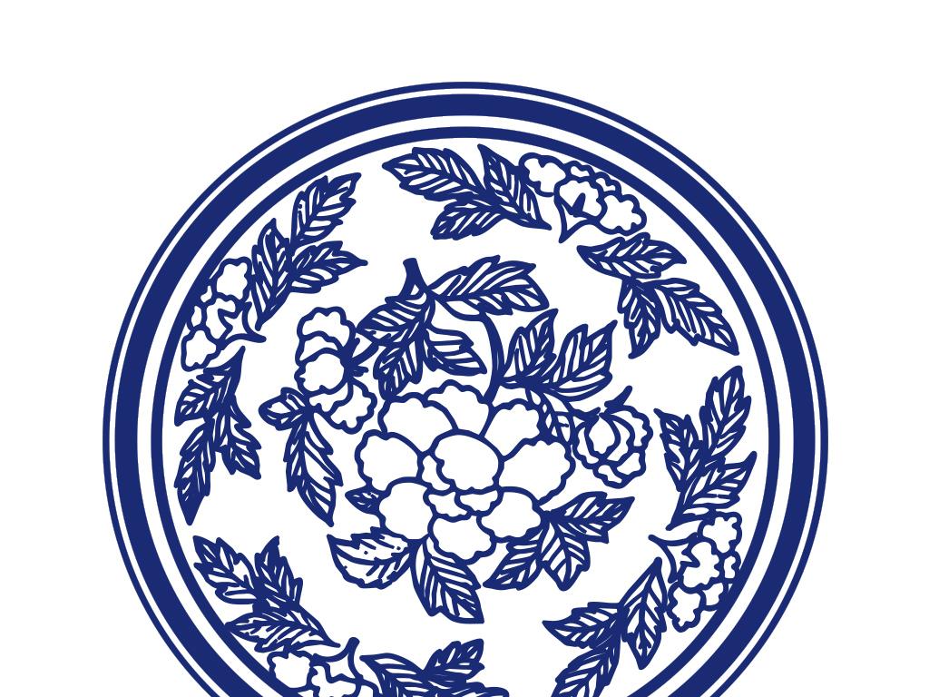 作品模板源文件可以编辑替换,设计作品简介: 中国花朵青花瓷圆盘 矢量