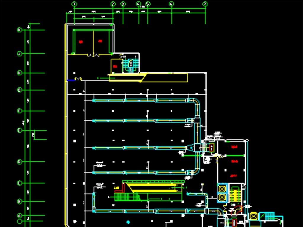 cad图库 室内设计cad图库 cad图纸 > 超市市场cad中央空调平面图