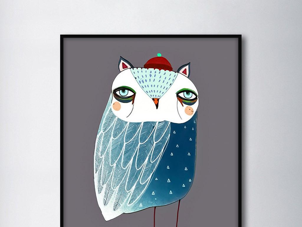 蓝鹦鹉现代北欧手绘可爱简约动物家居装饰画