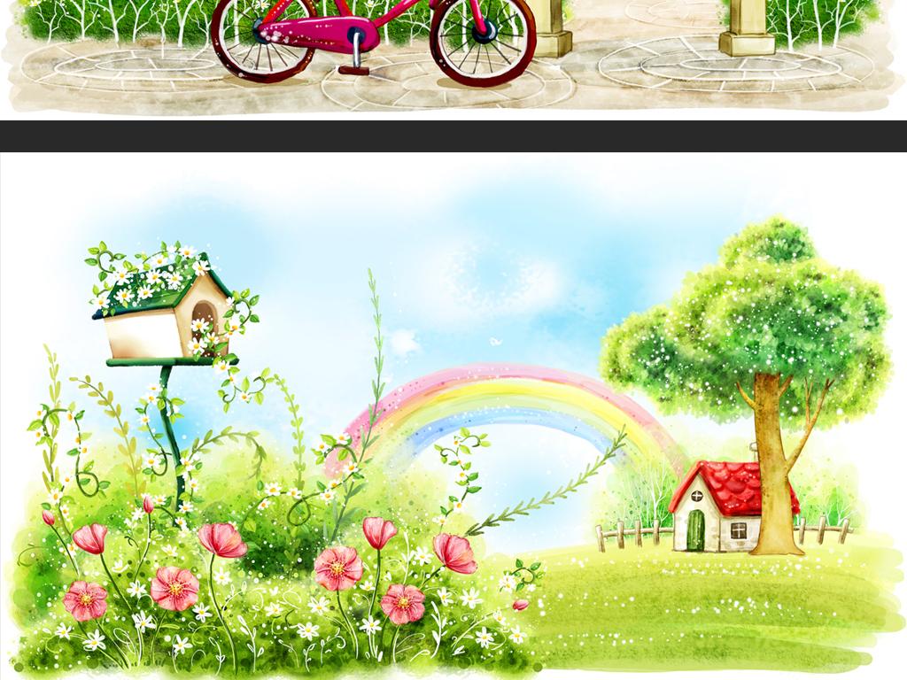 春天风景风景插画插画手绘风景唯美韩式儿童韩式料理