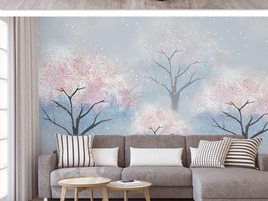 唯美手绘桃花水林水彩背景墙