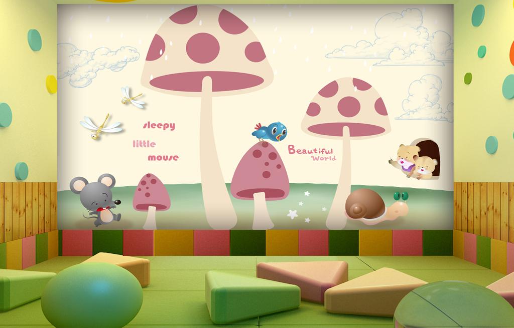 欧美手绘卡通蘑菇小动物儿童房幼儿园背景墙