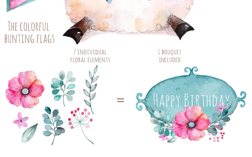 儿童画小报素材白马花卉花朵花环水彩手绘可爱