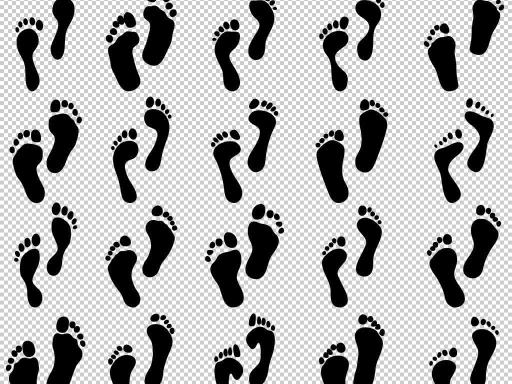 流行卡通矢量手绘人物脚印鞋印免扣png图片素材下载