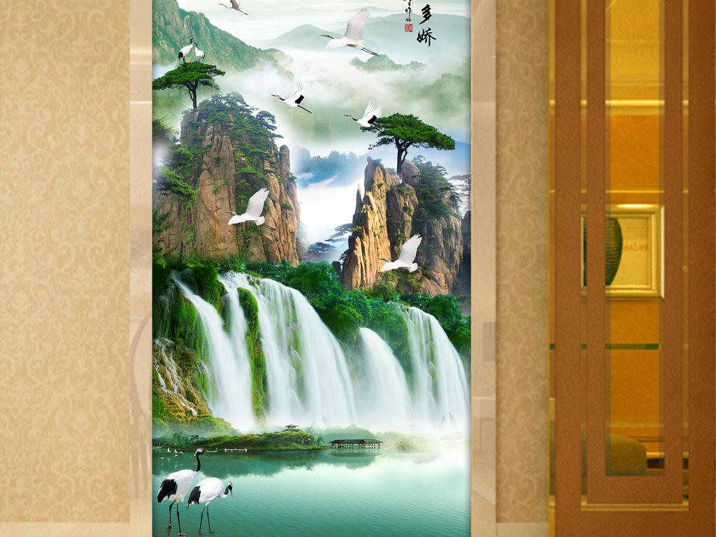 江山多娇山水画迎客松仙鹤中式玄关图片