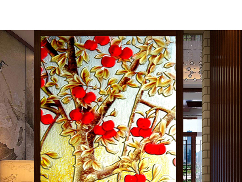 3d立体画浮雕玻璃玻璃雕花立体背景玄关背景画山水画中式玄关立体花