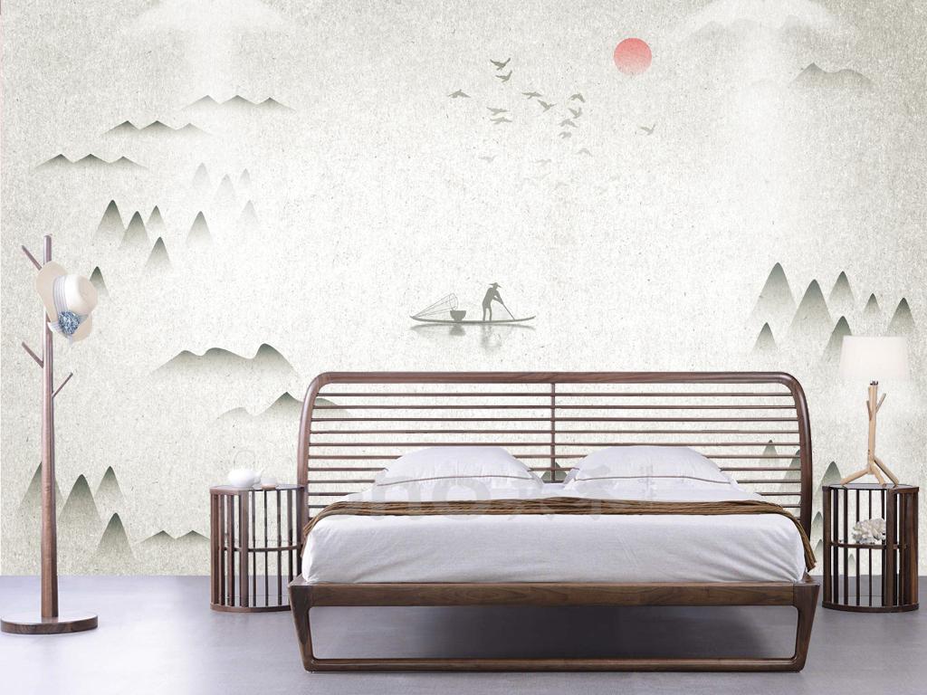 新中式禅意大气飞鸟山峰简约沙发背景墙图片