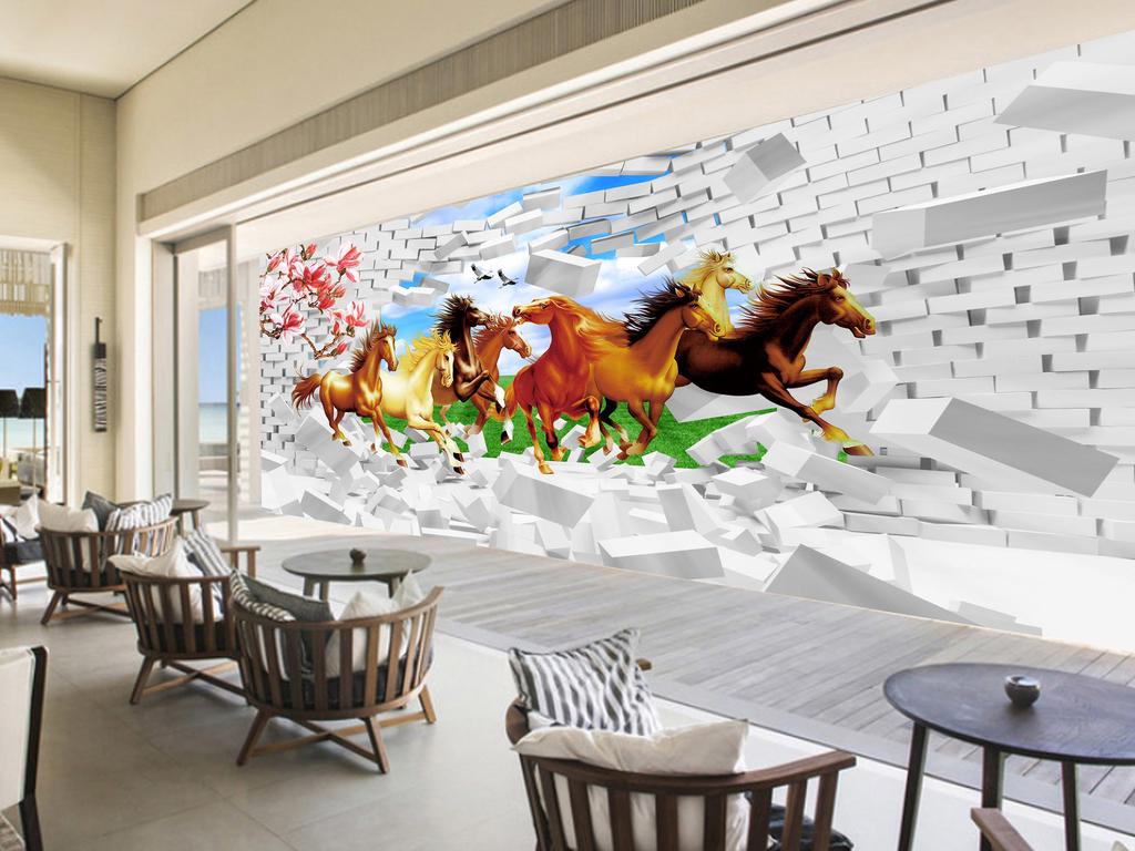 3d立体画电视背景玻璃雕花立体背景玄关背景画山水画立体马全屋背景