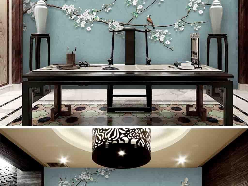浮雕花枝手绘花鸟工笔画新中式背景墙