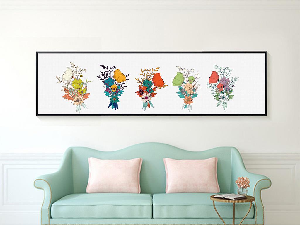 手绘水彩花卉卧室客厅背景装饰画