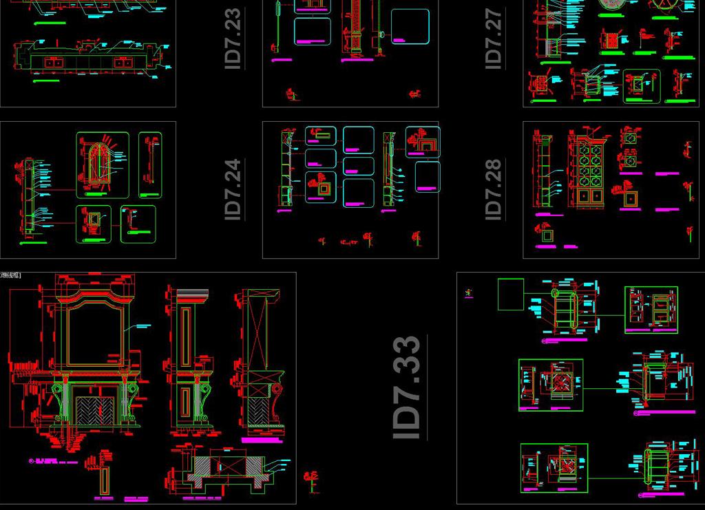 奢华美式所英文版CAD立面施工图cad注释字体格式图片