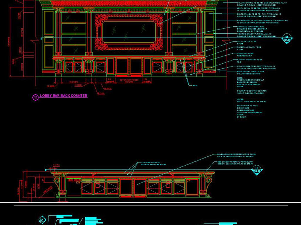 奢华美式所英文版CAD立面施工图2014cad退闪怎么办进入图片