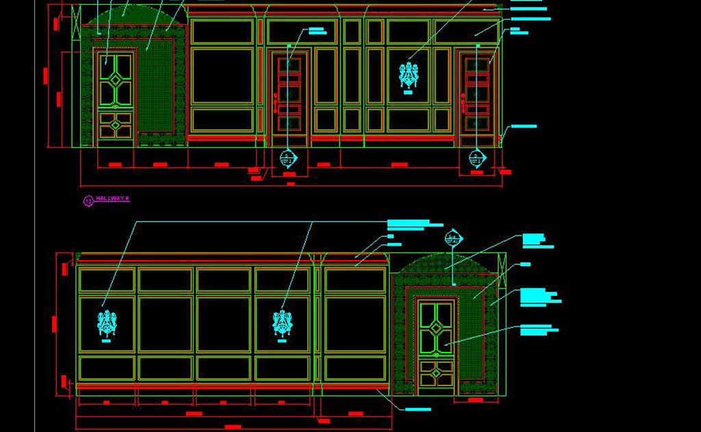 奢华美式所英文版CAD立面施工图cad立面壁炉下载图片