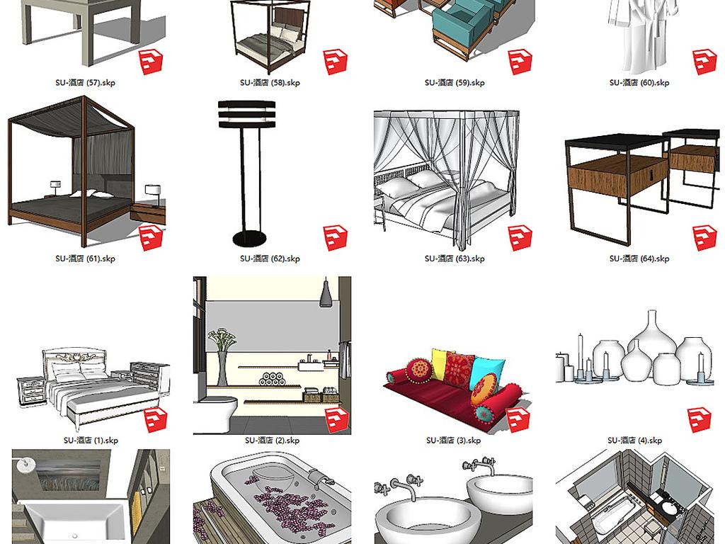 作品模板源文件可以编辑替换,设计作品简介: 精选客栈民宿旅馆家具su