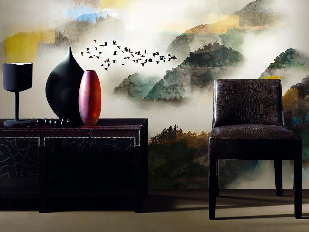 新中式水墨山水云雾山峦电视沙发背景墙