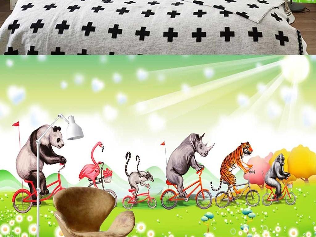手绘背景墙动物群友高端壁画犀牛