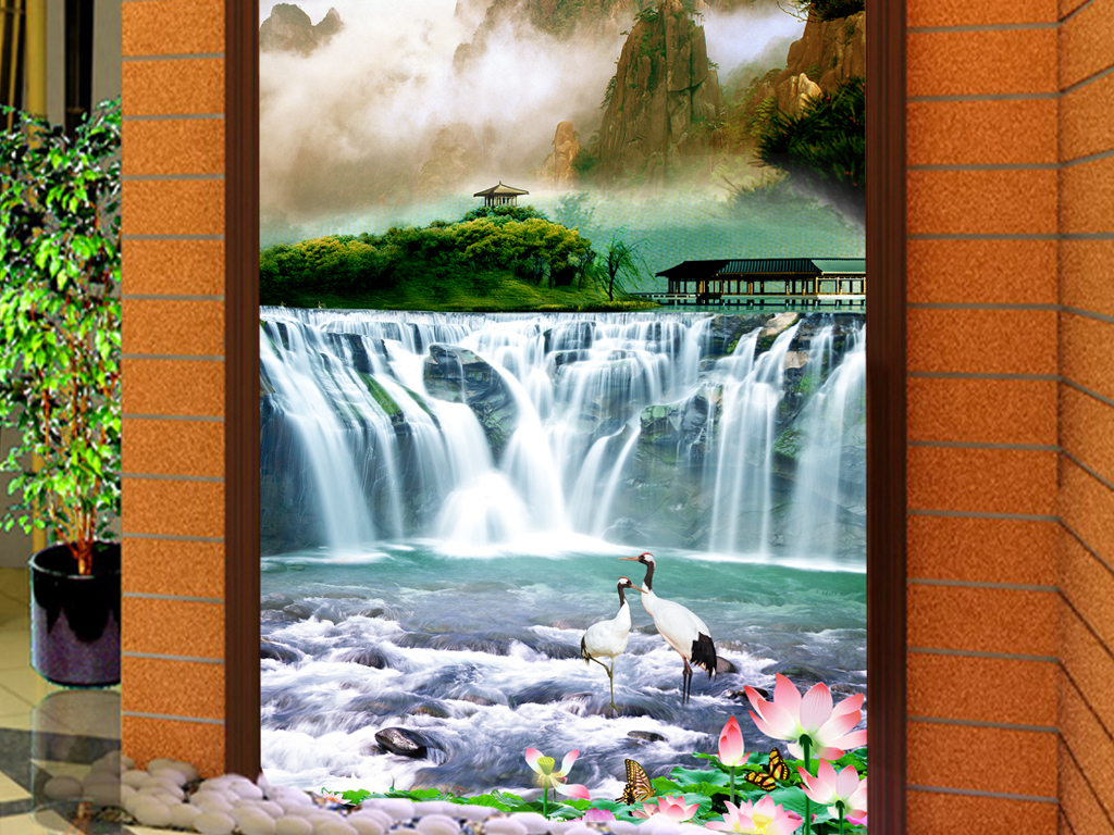 江山如画风景画山水图装饰画玄关图片