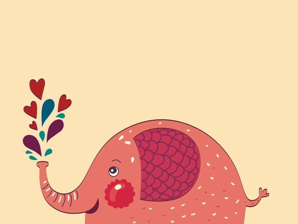 卡通动物大象几何图案