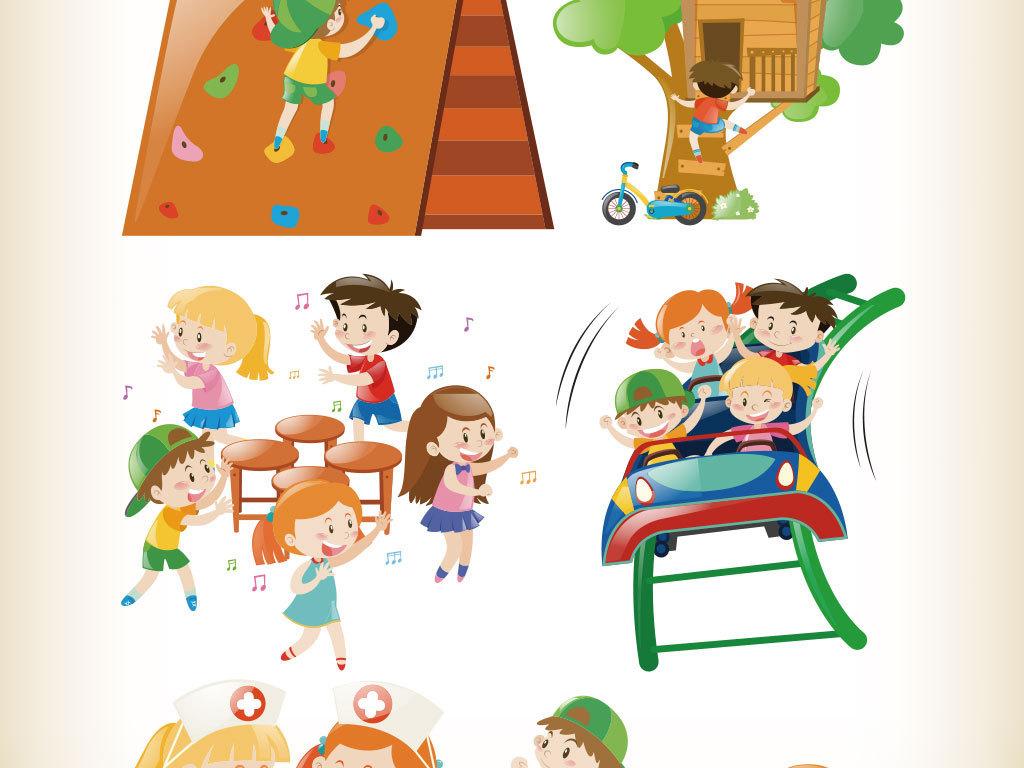 卡通幼儿园游戏人物矢量图(图片编号:16401632)