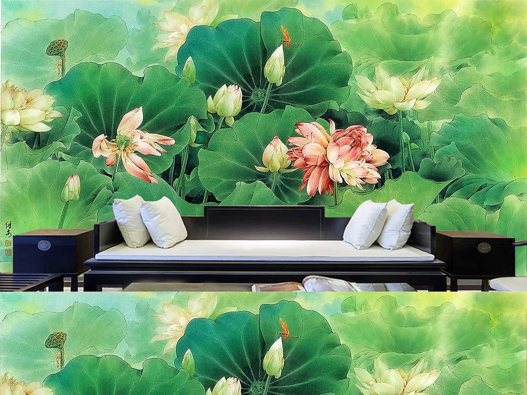 新中式手绘工笔荷花意境国画现代装饰背景墙