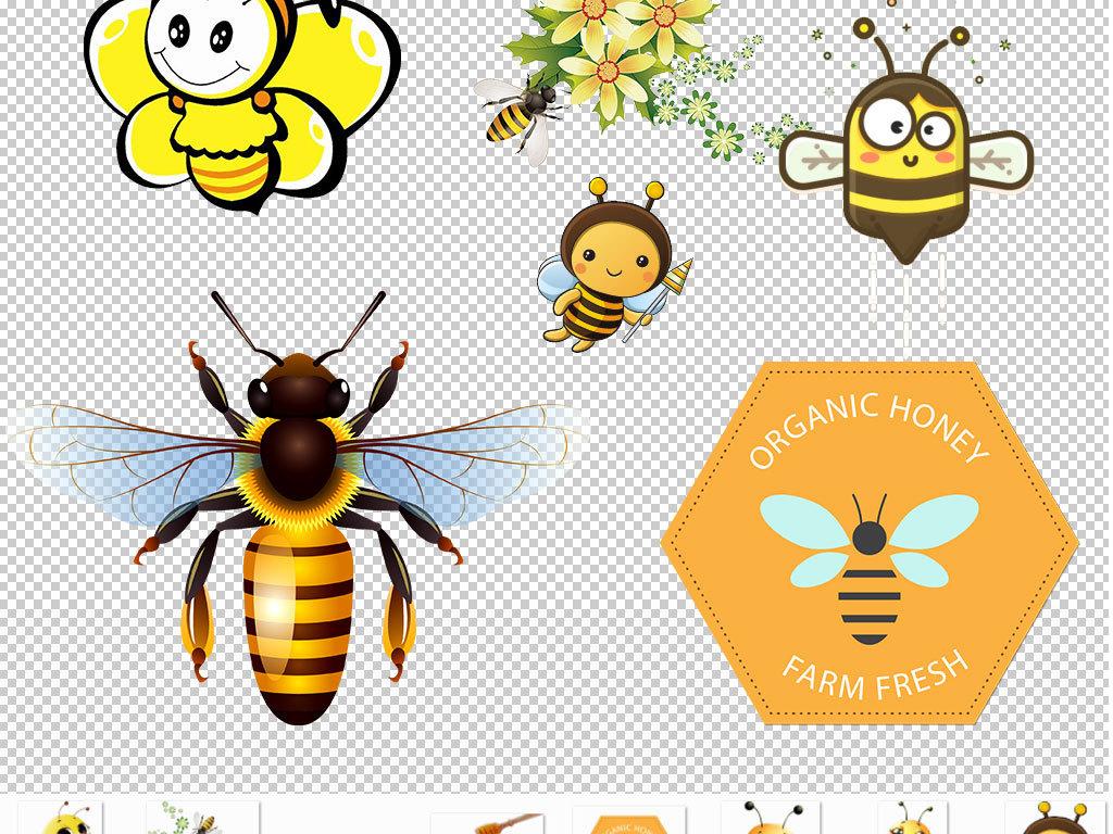 卡通手绘小蜜蜂蜂蜜免扣png图片