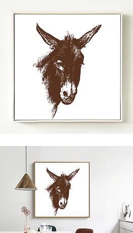 现代简约手绘动物装饰画无框画