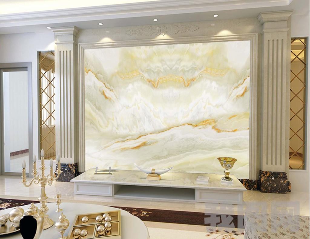 新款欧式玉石大理石纹壁画财源广进