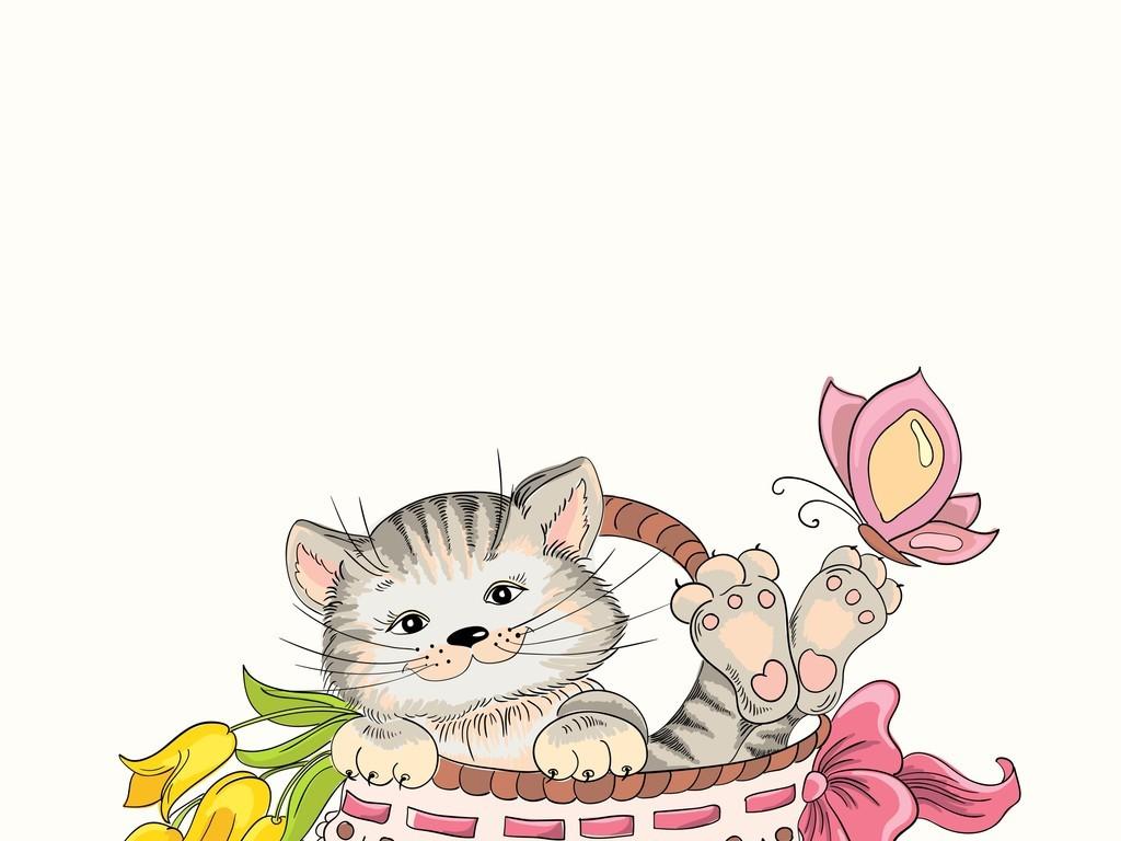 趣味可爱小猫图案背景