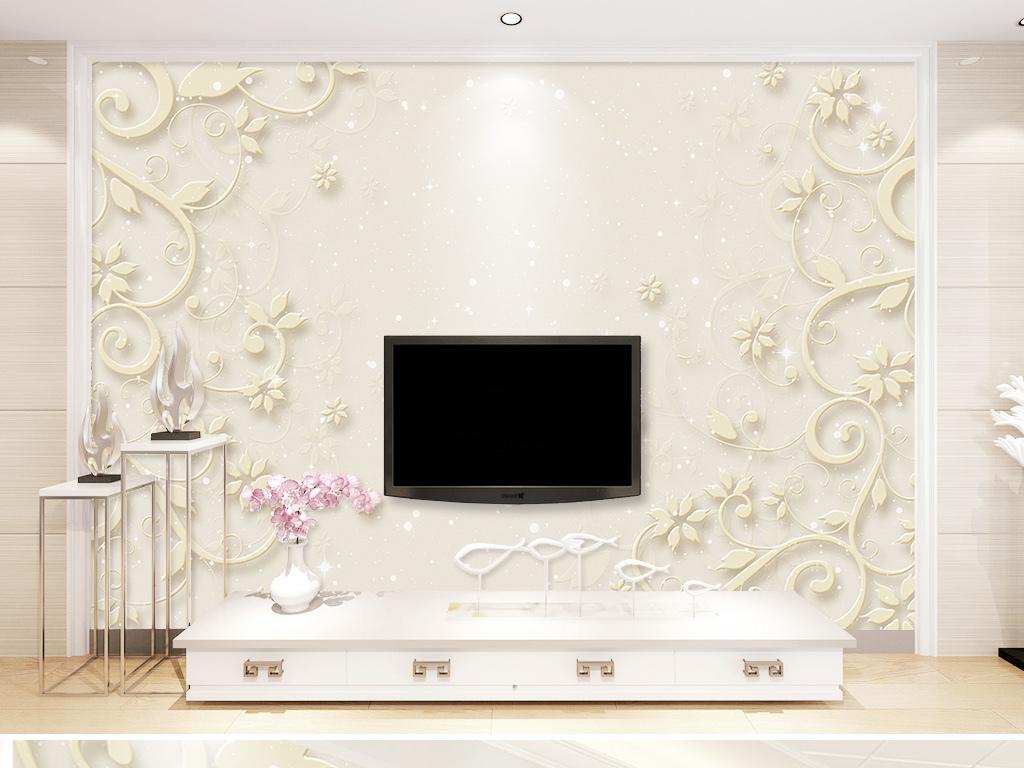 简欧花卉植物浮雕欧式花纹电视背景墙壁画