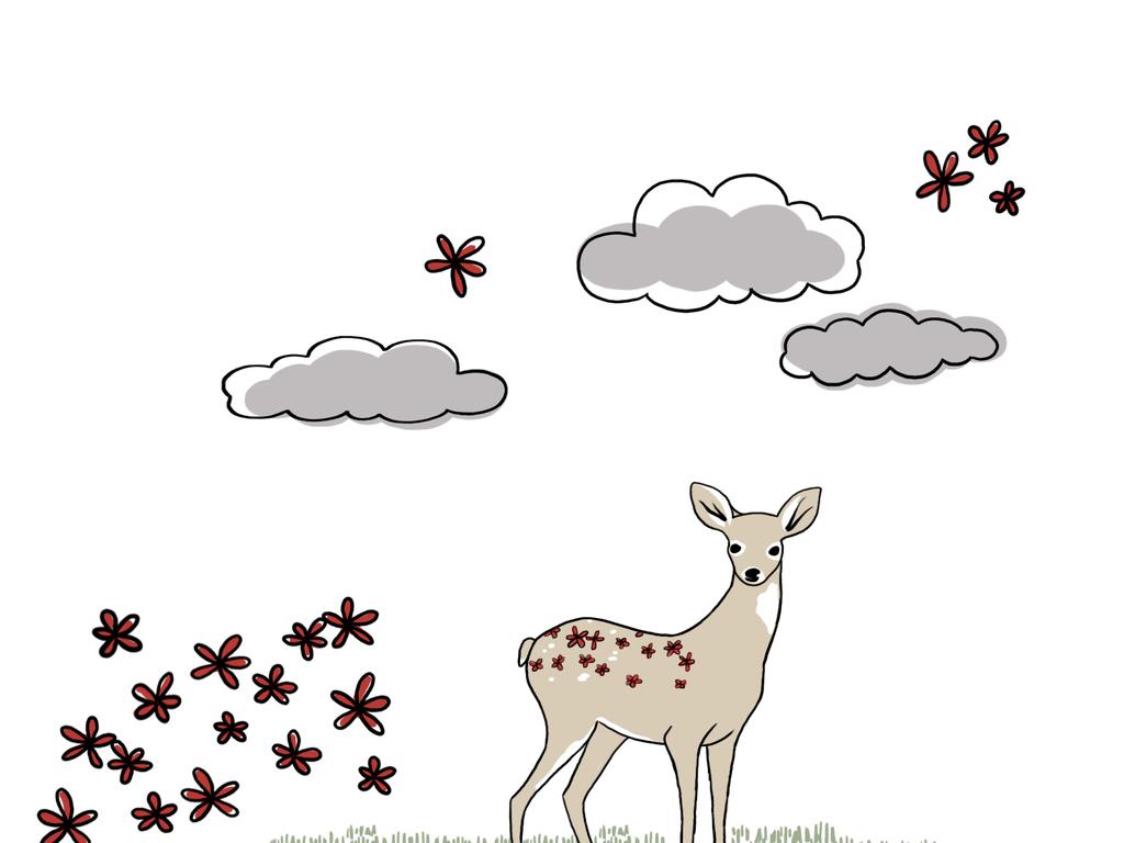 手绘卡通小鹿