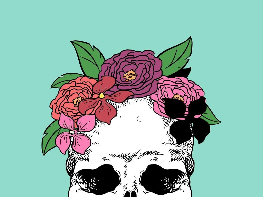 手绘骷髅头插画植物花卉