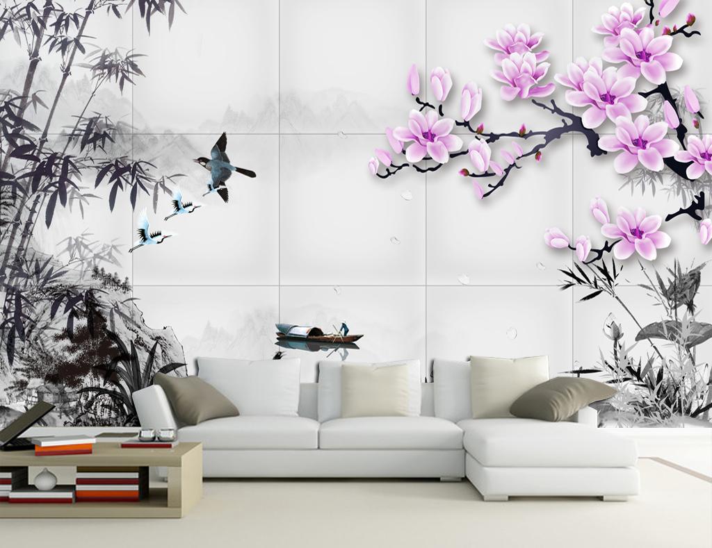 新中式3d水墨画电视沙发背景墙