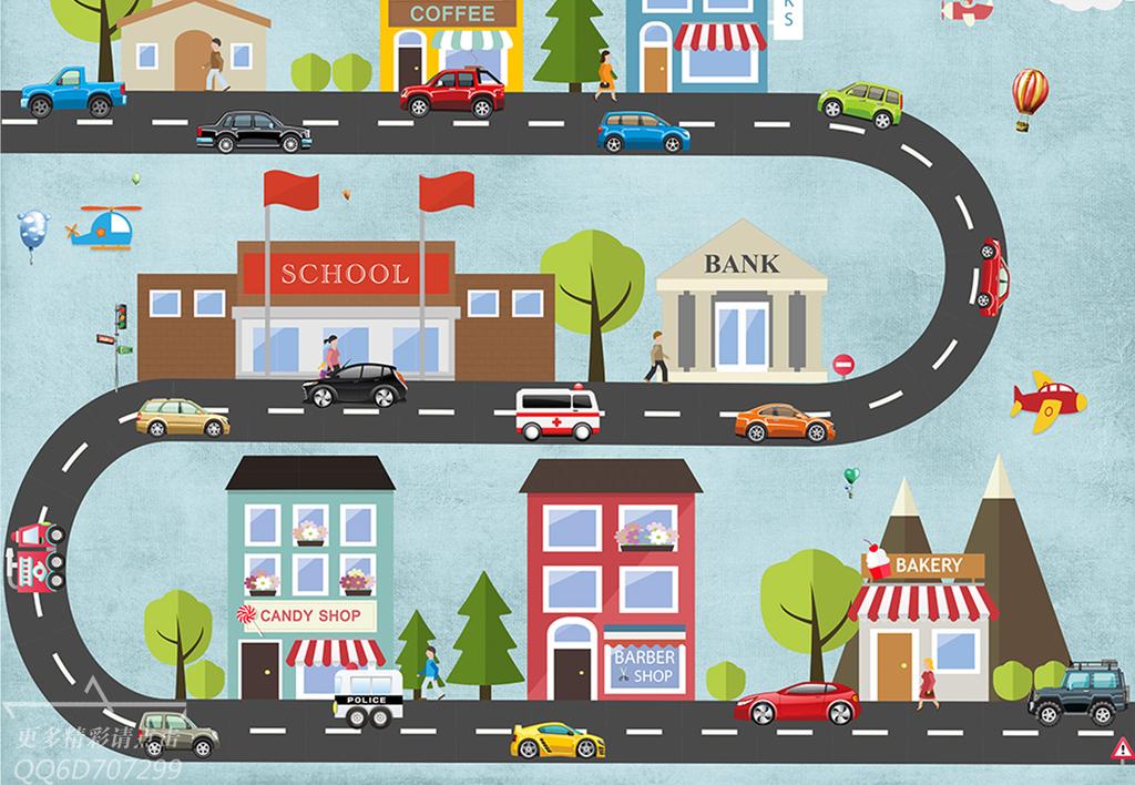 趣味卡通手绘城市轨道交通工具儿童房装饰背景