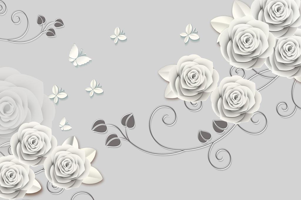 白色立体玫瑰花藤蝴蝶