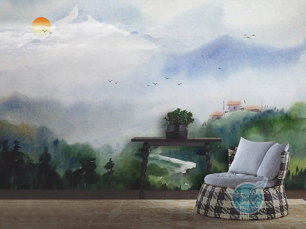 新中式水彩意境山水风景背景墙壁画