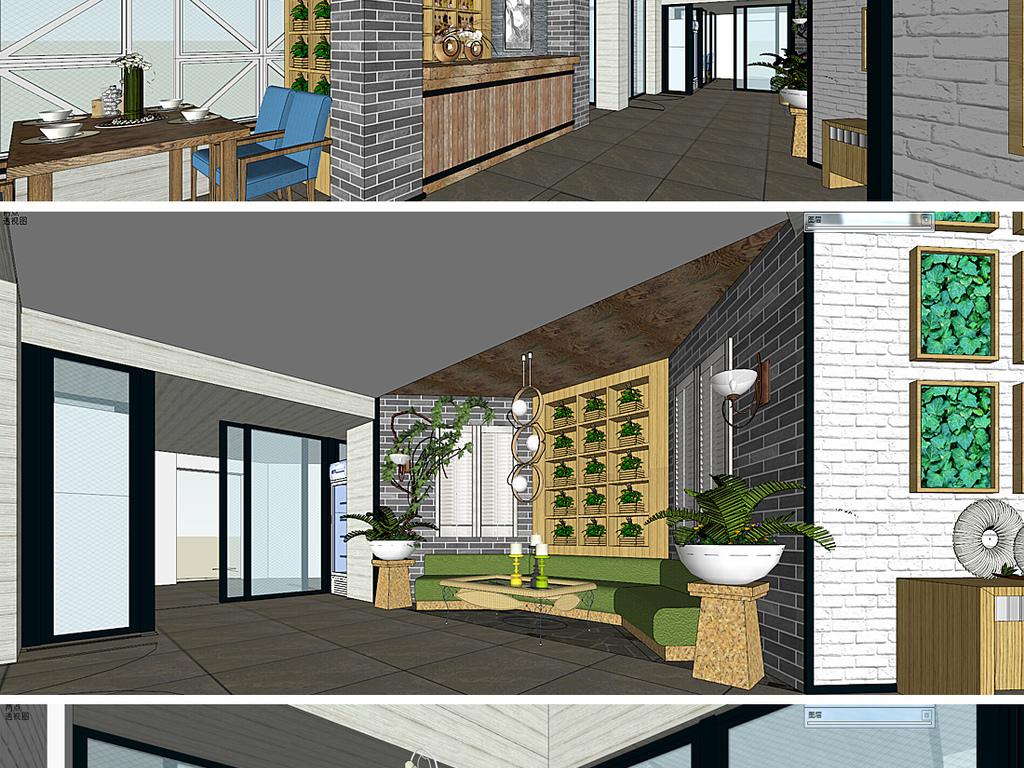 模型库 其它模型 其他模型 > 新中式餐厅su模型  版权图片 设计师 : q