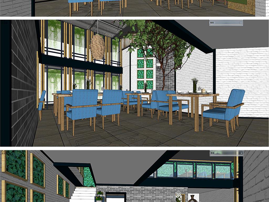 模型库 其它模型 其他模型 > 新中式餐厅su模型  版权图片 设计师