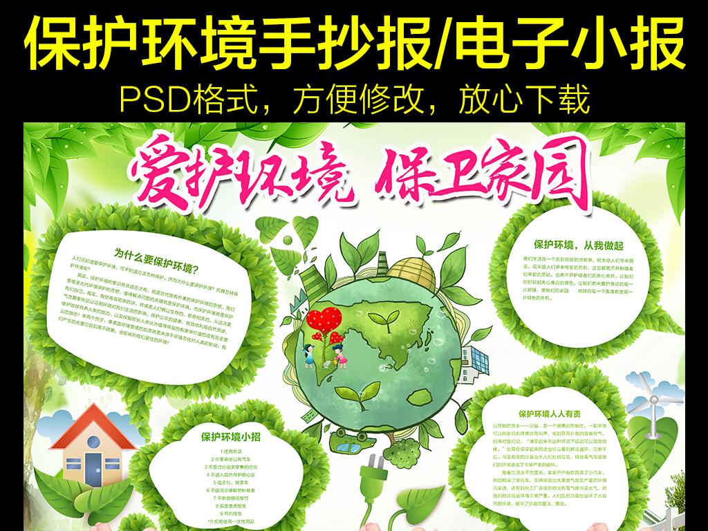 设计作品简介: 绿色环保保护环境手抄小报 位图, cmyk格式高清大图