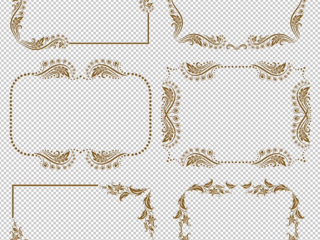 边角线框金色花纹欧式金色古典花边花边边框花边图案蕾丝