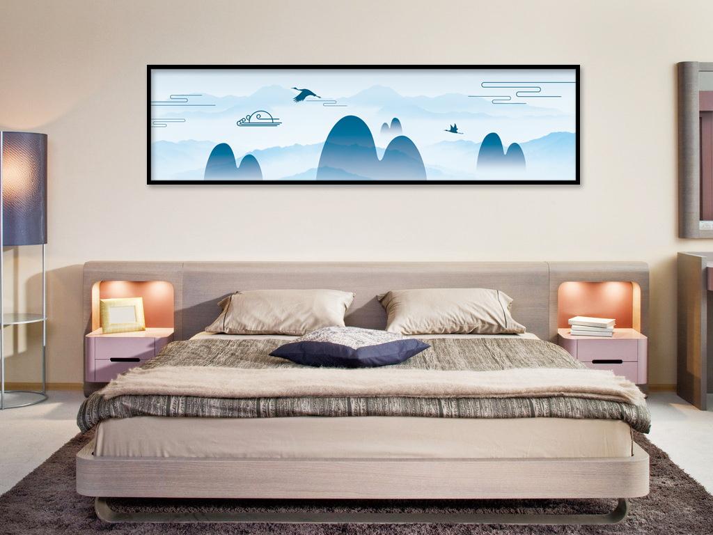 新中式禅境山脉飞鹤电视沙发背景墙