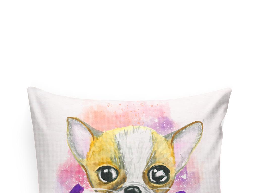 手绘水彩动物装饰画小狗