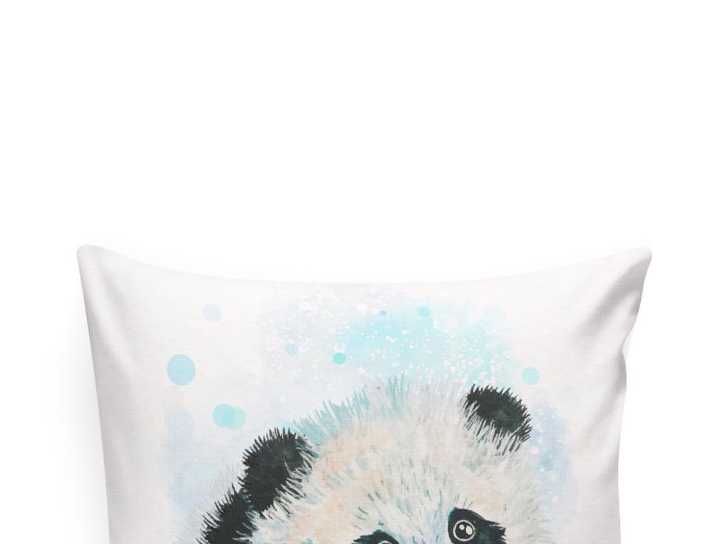 手绘水彩动物插画熊猫