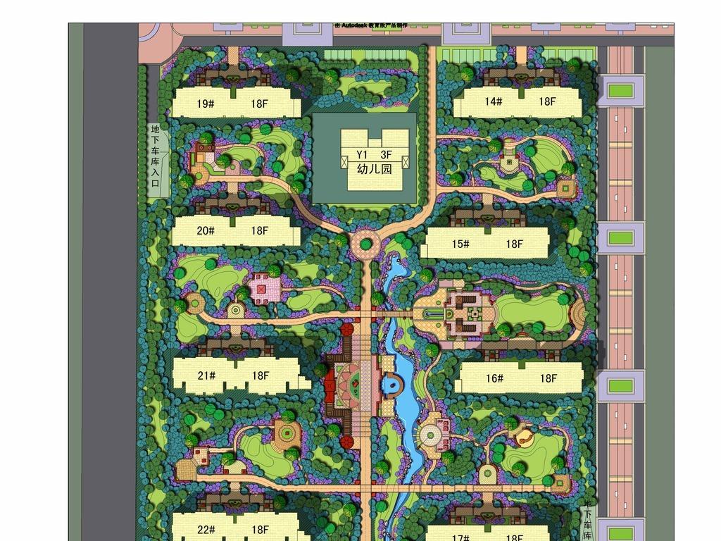 平别墅psd彩平住宅景观彩色平面图园林设计景观规划规划图彩平素材彩