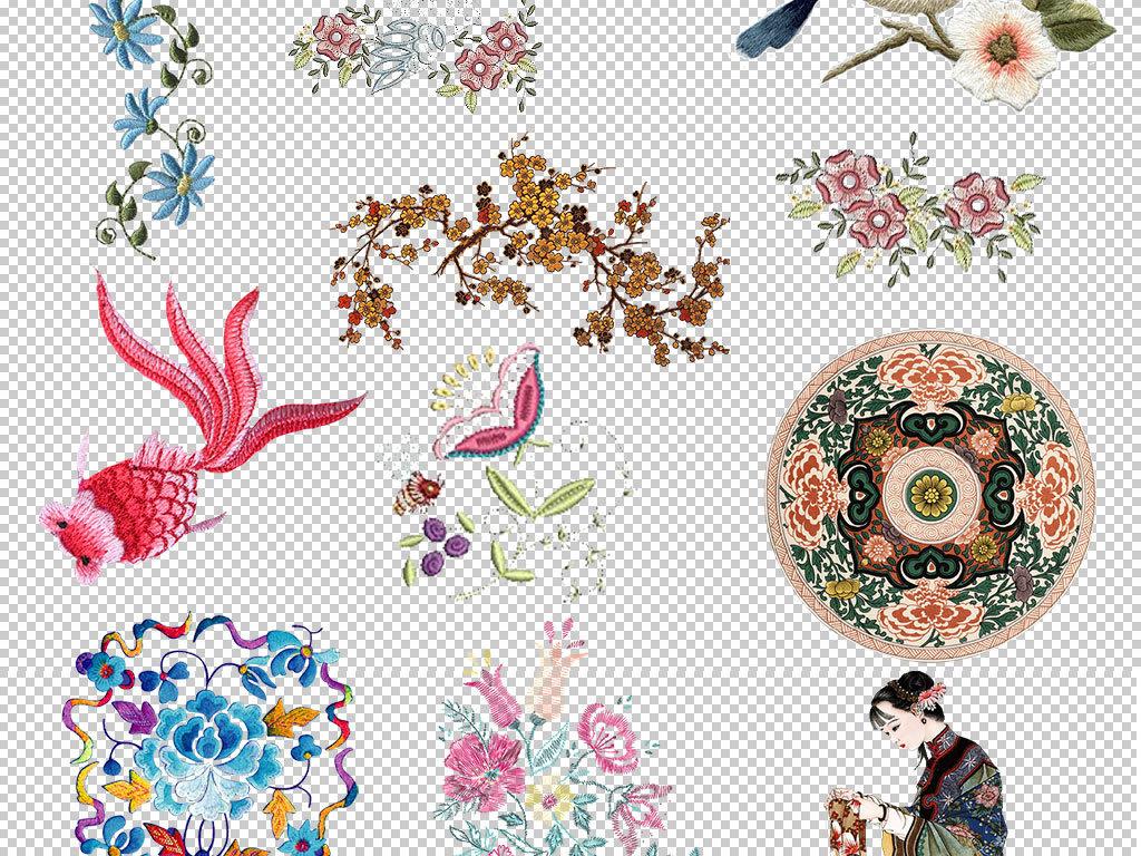 中式背景素材刺绣图案刺绣花纹绣花花纹刺绣设计元素