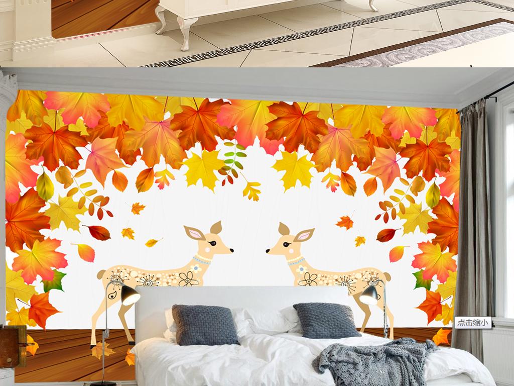 美式复古森系田园麋鹿手绘花卉枫叶背景墙