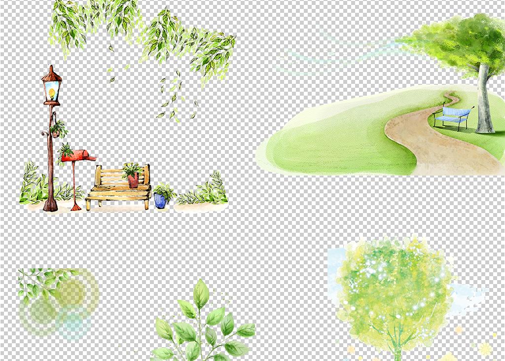 树手绘png风景高清素材手绘风景手绘素材免抠素材