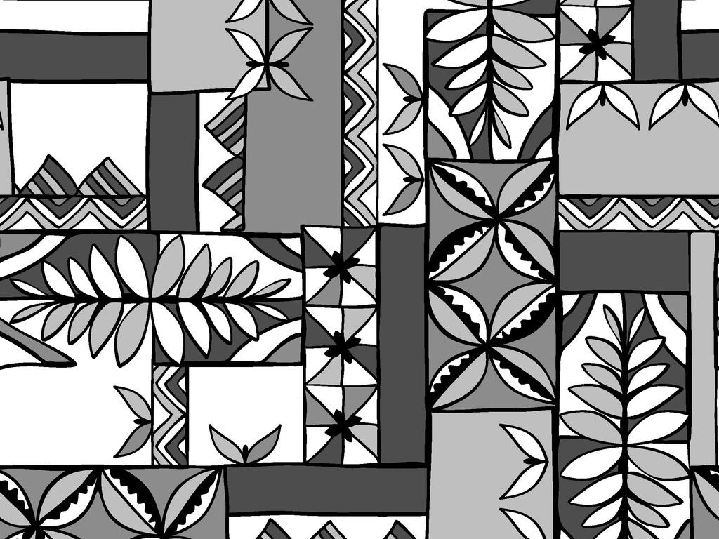 热带风情植物花卉印花循环图案矢量图