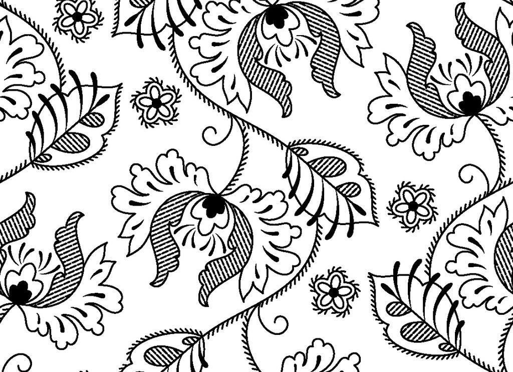 欧式古典花型印花图案循环矢量图
