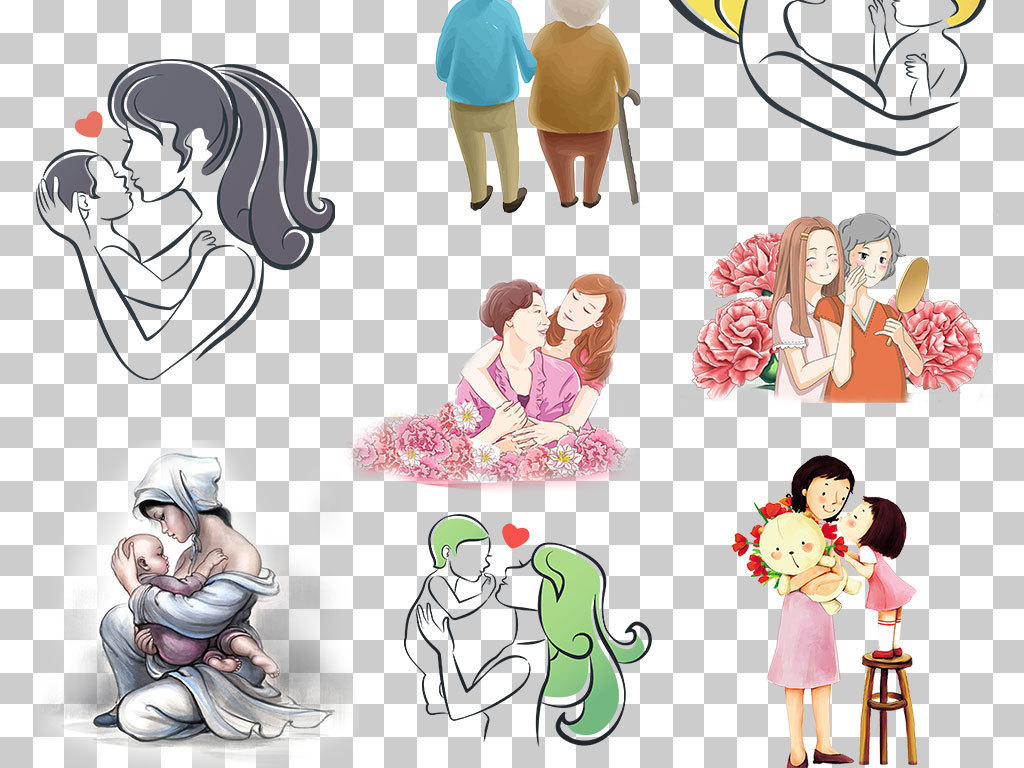 母亲节素材png卡通卡通母子人物卡通手绘卡通人物