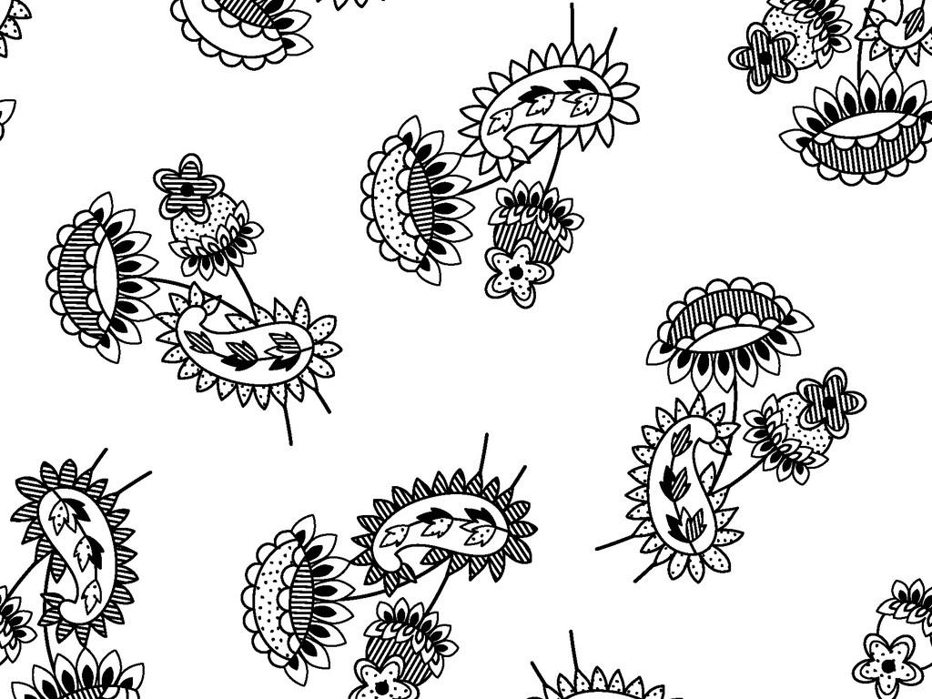 欧式花卉花朵花卉背景手绘花卉线描花卉水彩花卉白描